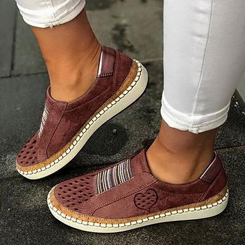 Экспресс-; женская обувь; повседневная обувь из вулканизированной кожи; кроссовки; женские удобные слипоны; лоферы на плоской подошве; zapatos mujer; Прямая поставка - Цвет: red 2