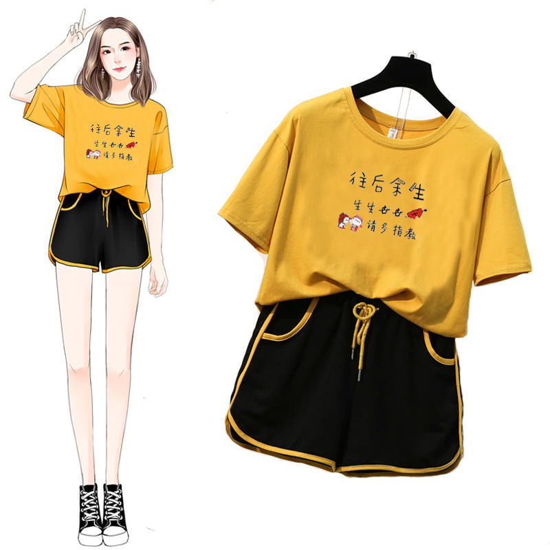 New  Women Two Piece Set Letter Tshirt Top And Drawstring Shorts Casual Woman Set Plus Size Women Outfits Suit Cotton Tracksuit