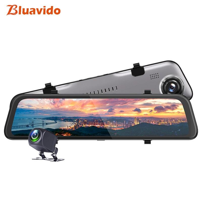 Bluavido-caméra de tableau de bord résolution 2K | Rétroviseur de voiture 12 pouces DVR FHD 1440P Hisilicon CPU Super Vision nocturne, enregistreur vidéo pour voiture