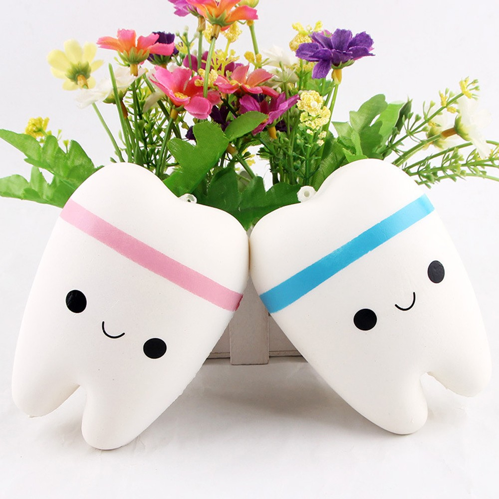 Cute Cartoon Teeth Soft PU Squishy Tooth Stress Relief Toys Slow Rising Hand Kawaii Squeeze Toy Adorable Gift Blue