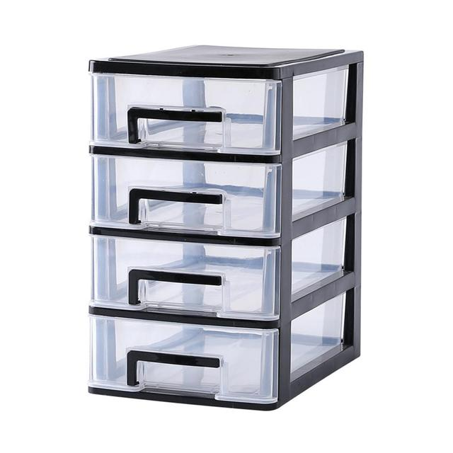 2/3/4 Layers Transparent Desktop Drawer Type Storage Box Mini Cosmetic Storage Organizer Sundries Holder Home Office Storage Box