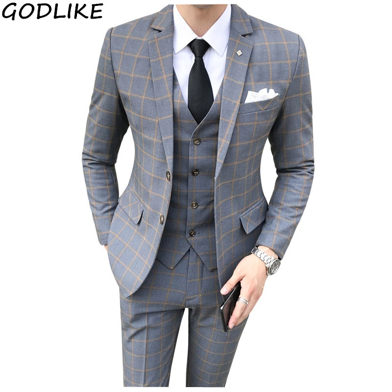 (Jackets + Vest + Pants ) Groom Wedding Dress Plaid Formal Suits Set Mens Fashion Boutique Wool Casual Business Suit Three-piece