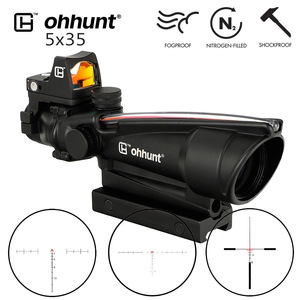 Image 1 - ohhunt 5X35 ACOG Style Three Model Reticle Red or Green Illuminated Tactical Rifle Scope with Red Dot for cal .223 .308 Rifle