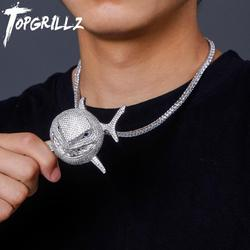 TOPGRILLZ Large 6IX9INE Shark Pendant Iced Cubic Zirconia Pendant Necklace Fashion Jewelry Gift 14mm Cuban Chain Can Passable