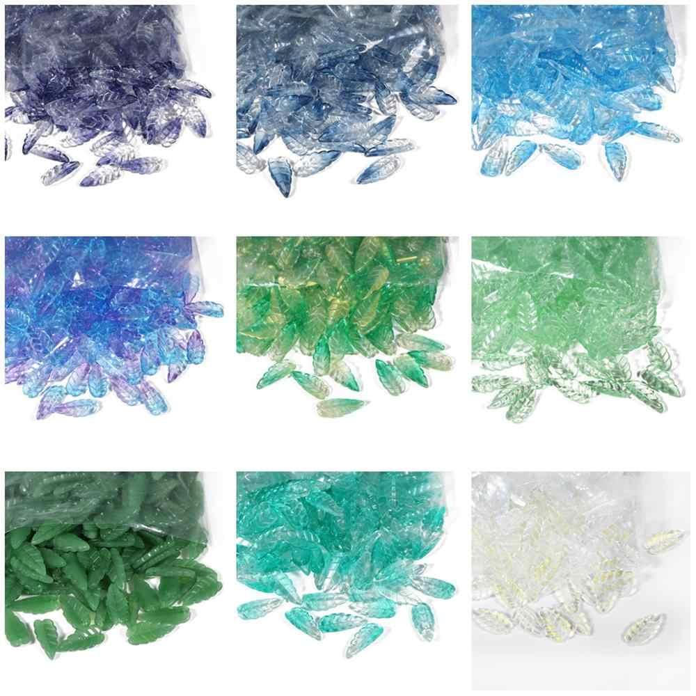 10Pcs Tsjechische Glazuur Glas Imitatie Lange Bladeren DIY Handgemaakte Haar Clip Materiaal Crystal Bloemblaadjes Losse Kralen Voor Sieraden DIY