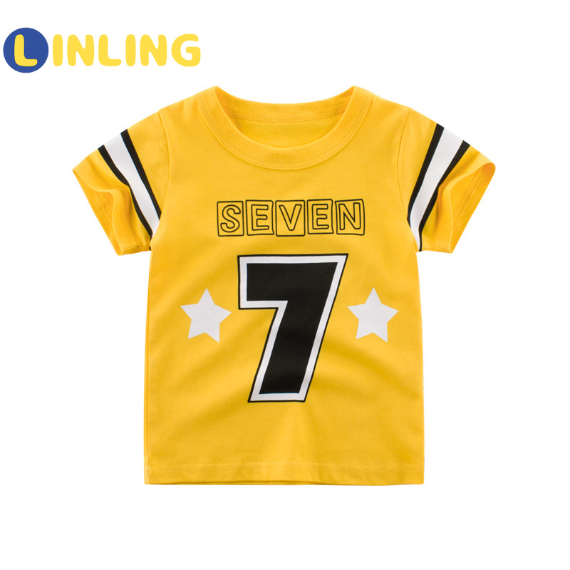 LINLING Kids T Shirts 2021 Summer Boys Girls Letter Cute Short Sleeve T Shirts Baby Child Cotton Tops Tees Fashion Clothes V17 1