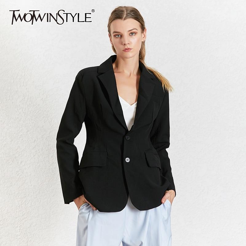 TWOTWINSTYLE OL Black Blazer For Women Notched Collar Long Sleeve High Waist Slim Elegant Coat Female Summer 2020 Fashion