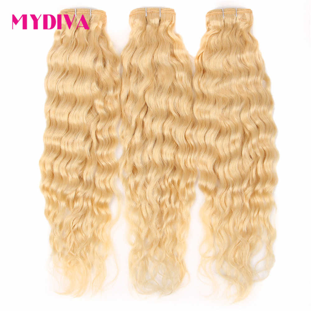 Brazilian Hair Weave Bundles Water Wave Human Hair Extensions 613 Bundles 30 Inch Honey Blonde Bundles Remy Hair Mydiva