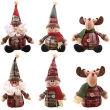 Śliczne boże narodzenie Santa Claus lalka łoś bałwan zabawki boże narodzenie zawieszka na choinkę Ornament dekoracja dla domu Xmas Party prezenty na nowy rok tanie tanio PD-504 christmas tree home decorations natal