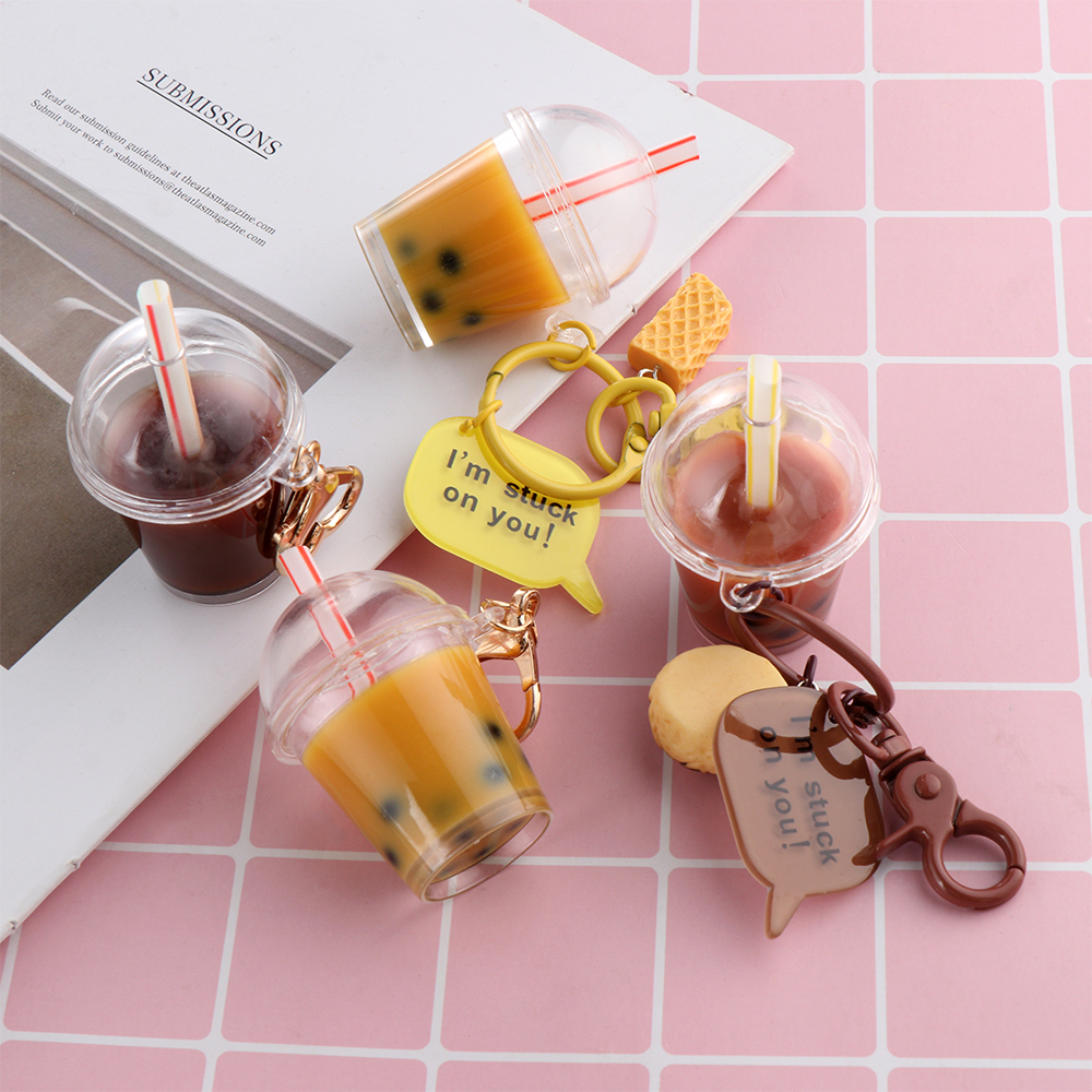1Pcs Creative Acrylic Keychain Beer Pearl Milk Tea Drink Bottle Keyring Bag Pendant Jewelry Gift Resin Key Chain Women Girl Gift