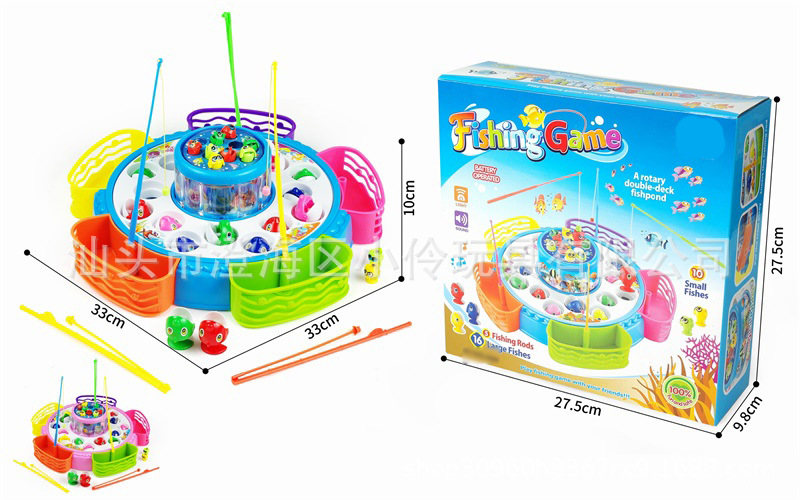 Children Fishing Toys Suit Electric Light And Sound Double Layer Fishing Educational Toy Traditional Kind Of Nostalgic Toy