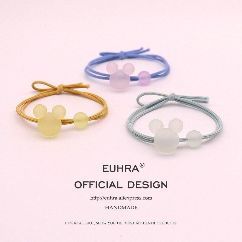 EUHRA 5 colores en forma de Mickey Linda gelatina Minnie cuenta para niñas mujeres bandas elásticas para el cabello chico niños bandas de goma alta la elasticidad
