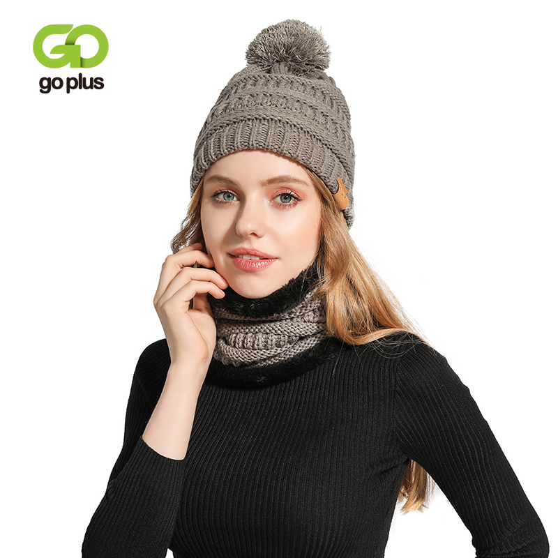 GOPLUS Fur Pompom Knitted Women's Hat Velvet Warm Caps Women Winter Outdoor Riding Scarf Hat Beanie Set Bonnet Sombrero Muje