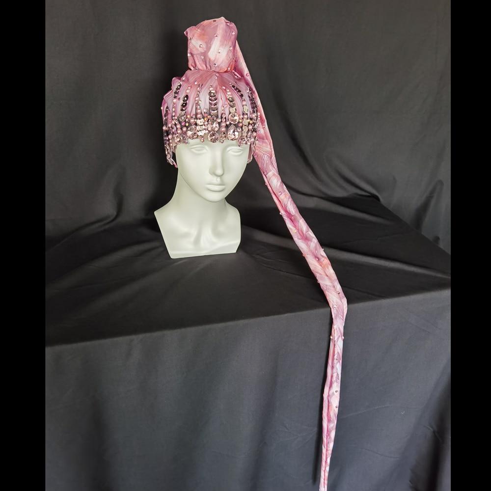 Fashion Pink Rhinestone Pearls Braids Wigs Women Crystal Sequin Long Hair Headwear Club Party Headdress Dancer Stage Accessories