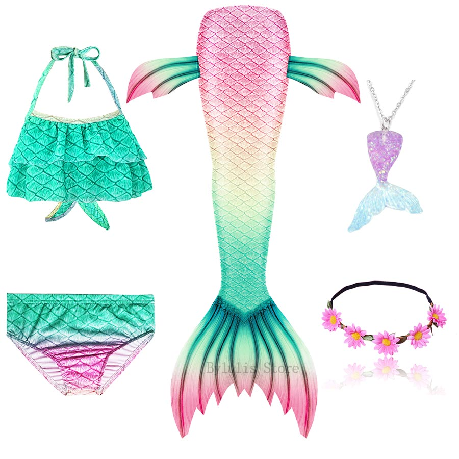 Ha9ca744944f54e87bef9e84378c75cb4W - Kids Swimmable Mermaid Tail for Girls Swimming Bating Suit Mermaid Costume Swimsuit can add Monofin Fin Goggle with Garland