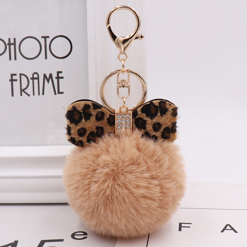Winter Explosions Leopard Bow Plush Keychain Fluffy Faux Rabbit Fur Ball Women Handbag Pendants Car Key Ring Jewelry Gift
