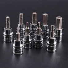 9 pces allen chave soquete com hex bit conjunto 3/8 screwscrewchave de fenda 2-10mm chave de soquete ferramentas hex bit soquetes kit conjunto