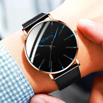 Ultra-Thin Business Men Quartz Stainless Steel Band Wrist Watch 2