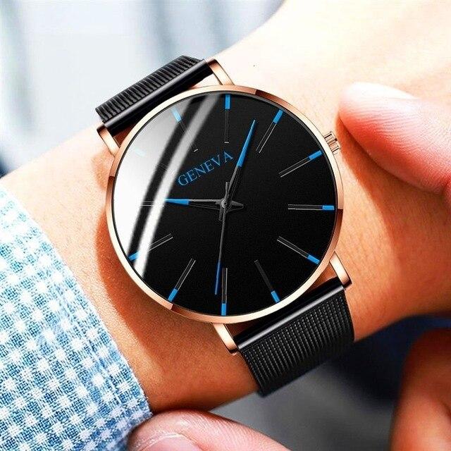 Ultra-Thin Business Men Quartz Stainless Steel Band Wrist Watch 2