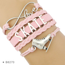 Skate Figure Skating Shoes Bracelets Infinity Love Jewelry