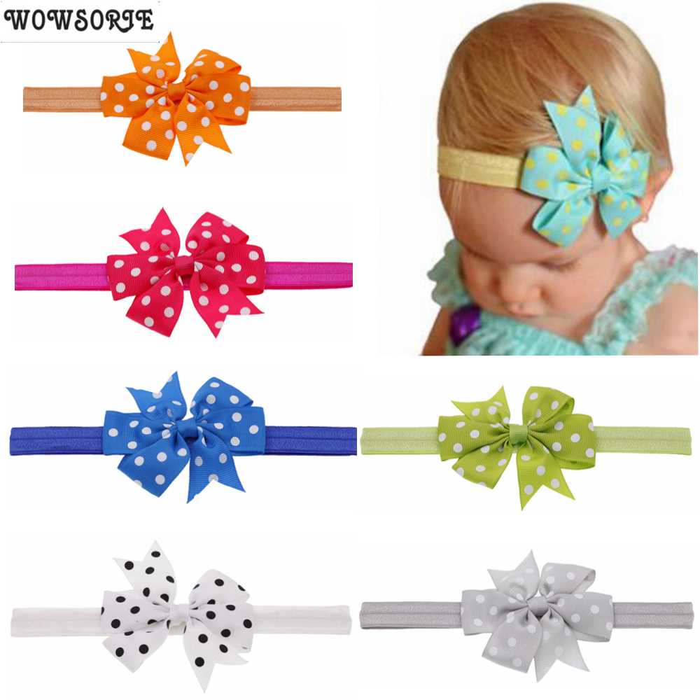 Baby Headband Girls Printed Dot Hair Bow Girl Headbands Flower Elastic Hair Band  Kids Handmade Flower Children Hair Accessories