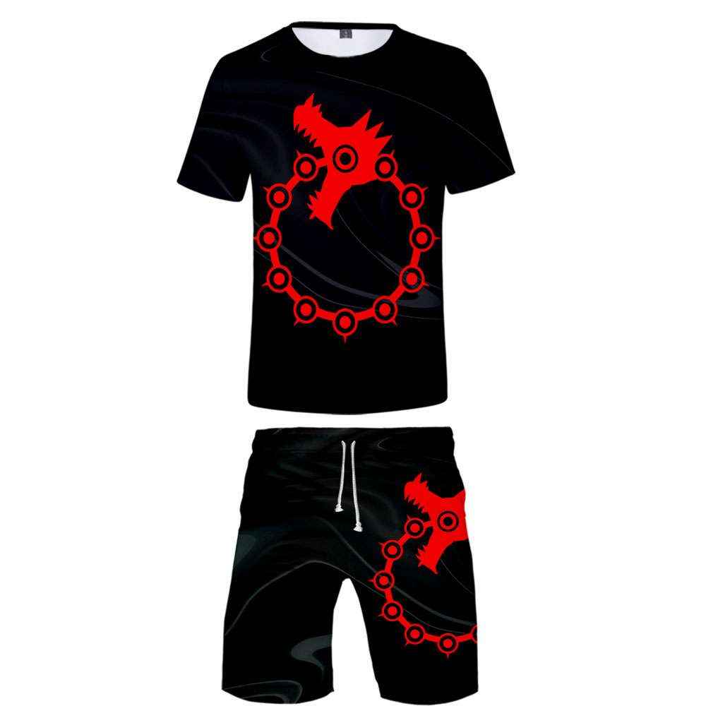 The Seven Deadly Sins T Shirt Two Piece Set Anime Tracksuit Men Summer Short Sleeve Baseball Tee+Shorts 3d Printing Sweatsuit