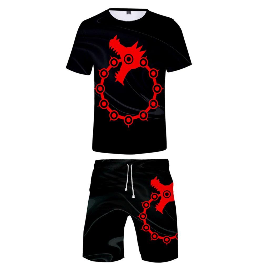 Les sept péchés capitaux T Shirt deux pièces ensemble Anime survêtement hommes été à manches courtes Baseball t-shirt + Shorts 3d impression survêtement