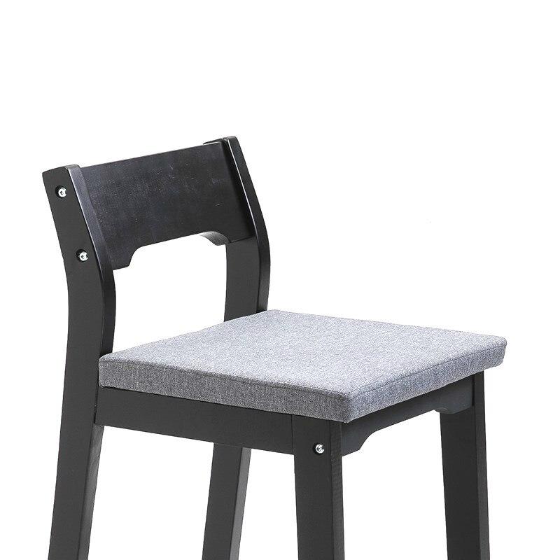 Solid Wood Bar Stool Home Modern Minimalist High  Nordic Back   Chair