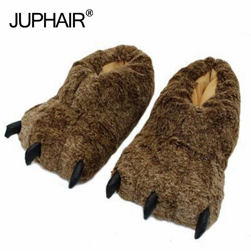 New Cartoon Bear Paw Slippers Women Girls Boy Men Paragraph Dinosaur Adult Shoes Winter Warm Bag With Home Floor Cotton Slippers in Slippers from Shoes