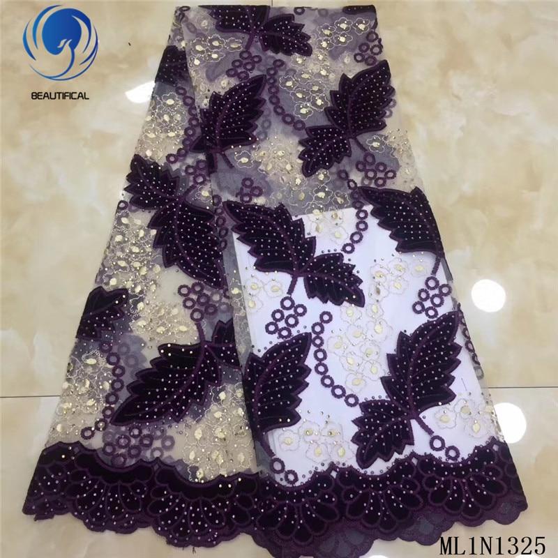 Hermosas telas de encaje africano 2019 nuevo patrón de follaje telas franela mezcla de tul encaje tela nigeriana con piedras ML1N1325 - 3