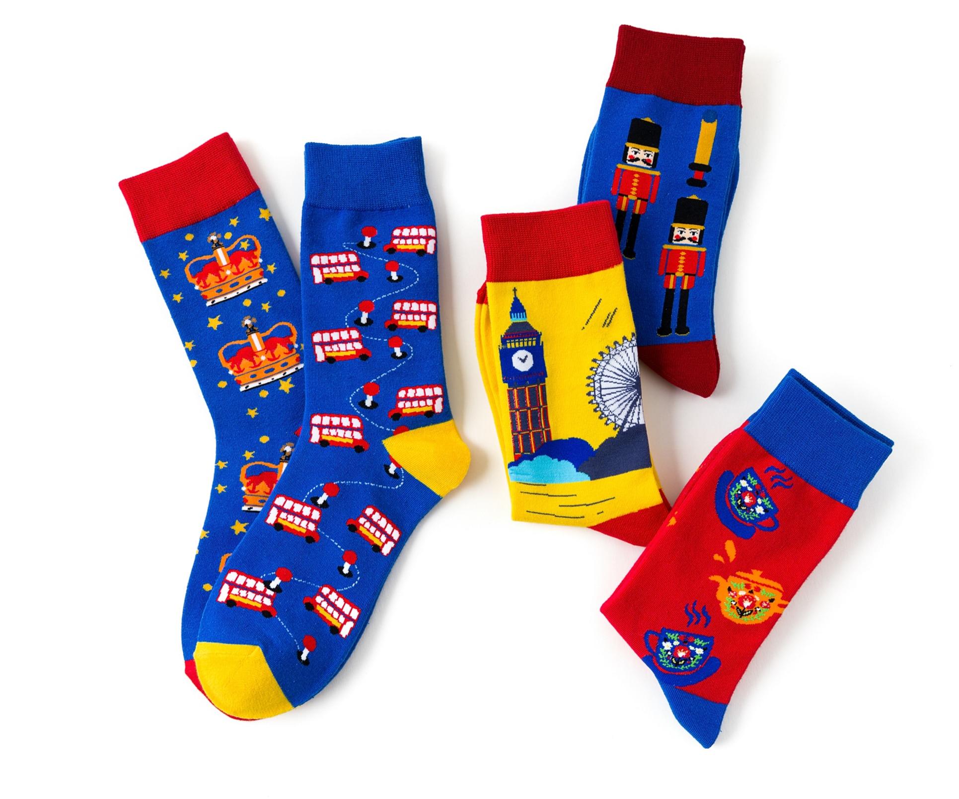 Art Women Socks Man England Bus Crown Cotton Fashion Cool Happy S Personality Special Ocks Funny Socks Adult Casual Crew Socks