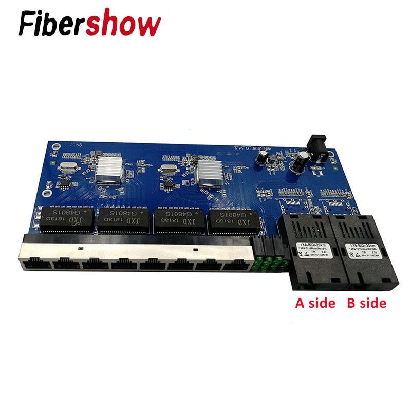 Media Converter Fiber Optical  Gigabit Ethernet Switch PCBA 8 RJ45 UTP And 2 SC Fiber Port 10/100/1000M  Board PCB