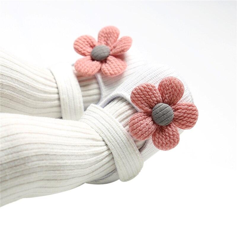 0-18M Infant Newborn Baby Girls Boys Crib Shoes Cotton Flowers Hook Soft Cork Baby Shoes 6 Colors+Headband 6
