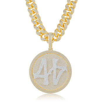 Customizable Big Turntable Hip Hop Zircon Personality Pendant 18-30 Inches Cuban CZ Chain Fashion Men And Women Necklace Jewelry