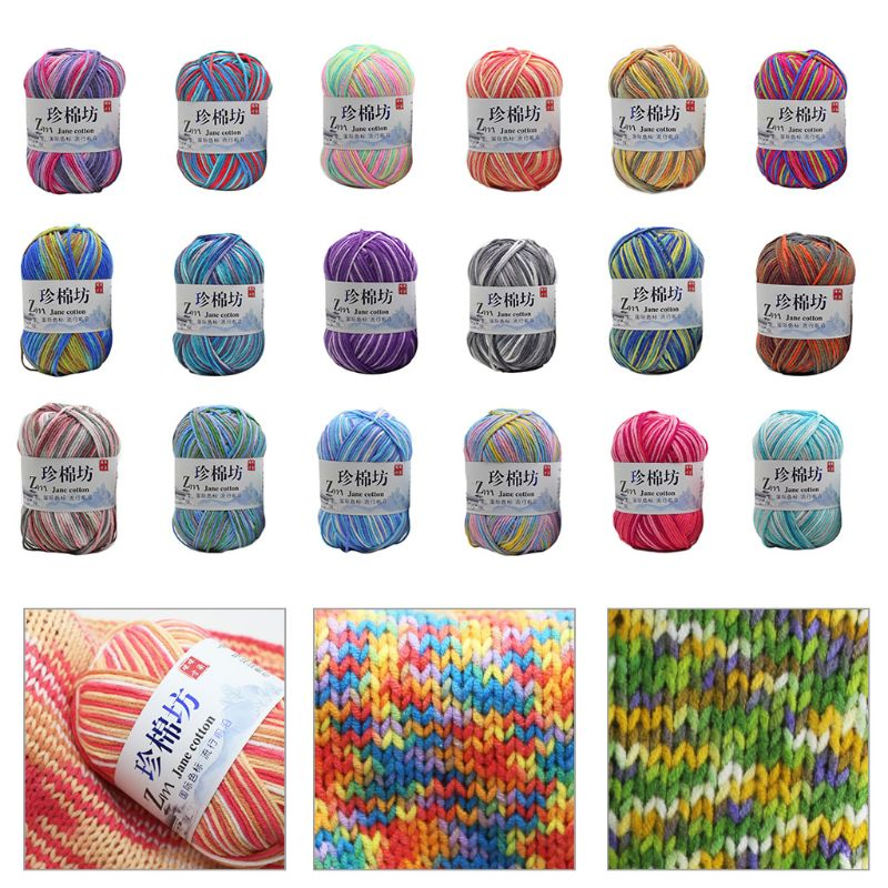 50g/Ball 4 Strand Worsted Milk Cotton Knitting Yarn Tie Dyed Ombre Colorful Crochet Hand-Woven Medium Thick DIY Thread