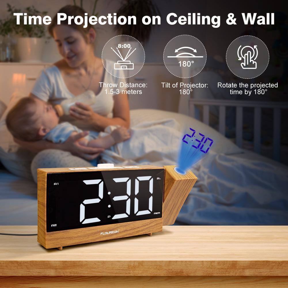 Mpow Digital LED Alarm Clock Projector SNOOZE Timer FM Radio Ceiling Sleep USB