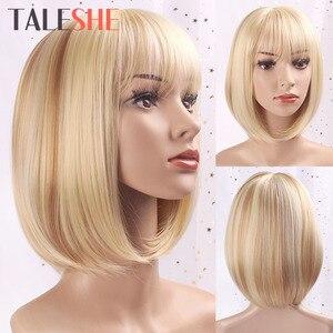 TALESHE Weiß Frauen Bob Stil Gerade Synthetische Blonde Kurze Perücke mit Pony 10 Zoll Perücken für Frauen Natürliche Cosplay