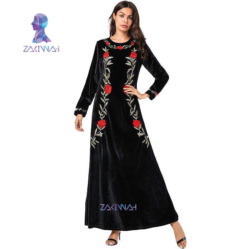 9123 mais tamanho planta bordado de mangas compridas em torno do pescoço vestido de veludo de ouro dubai caftan kaftan islam vestuário para mulher djellaba