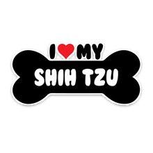 Karikatür I kalp benim Shih Tzu köpek kemik araba Sticker vinil çıkartmaları çizikler Hyundai Chevrolet Kia Rio,16cm * 7.8cm
