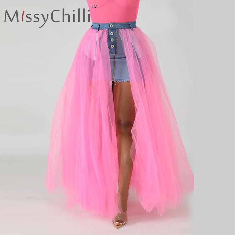 MissyChilli Mesh Patchwork Split Denim Skirt Sexy Summer Button White High Waist Skirt Women Streetwear Neon Jeans Skirt Buttoms