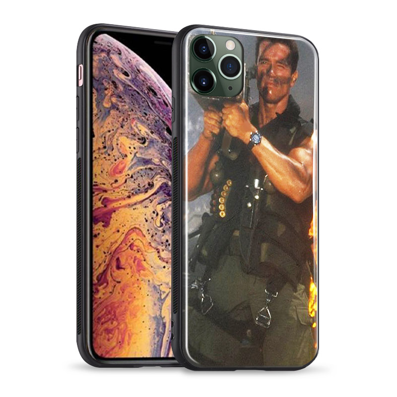 Ha9cb8501ae5c4479afef6ab102fa8d4fj Arnold Schwarzenegger movie Commando 1985 poster glossy smooth tempered glass case For Apple iPhone 11 PRO MAX i11 pro coque