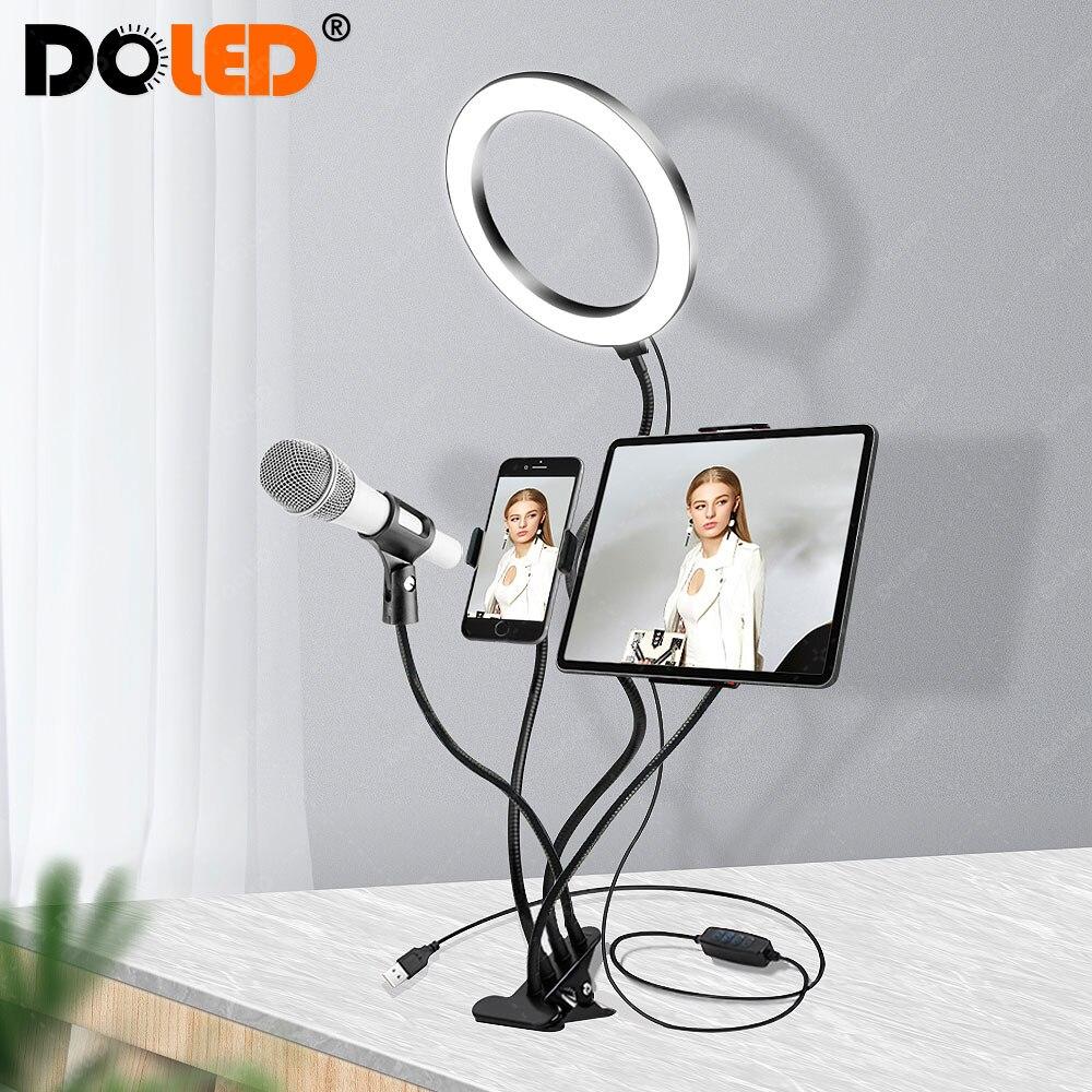 Kit de anel de luz ao vivo, lâmpada círculo de pescoço de cisne com suporte para smartphone tablet 3 modos de iluminação para selfie de vídeo