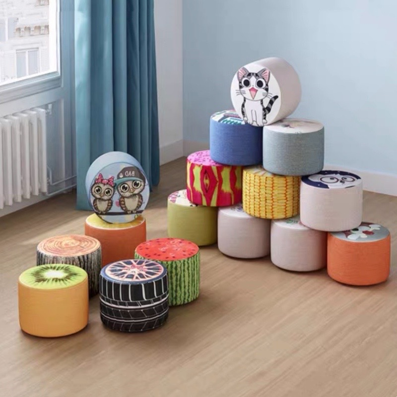 Solid Wood Household Stool Web Celebrity Living Room Children's Chair Lazy  Person Creative Bedroom Shoe Cloth Art Stools
