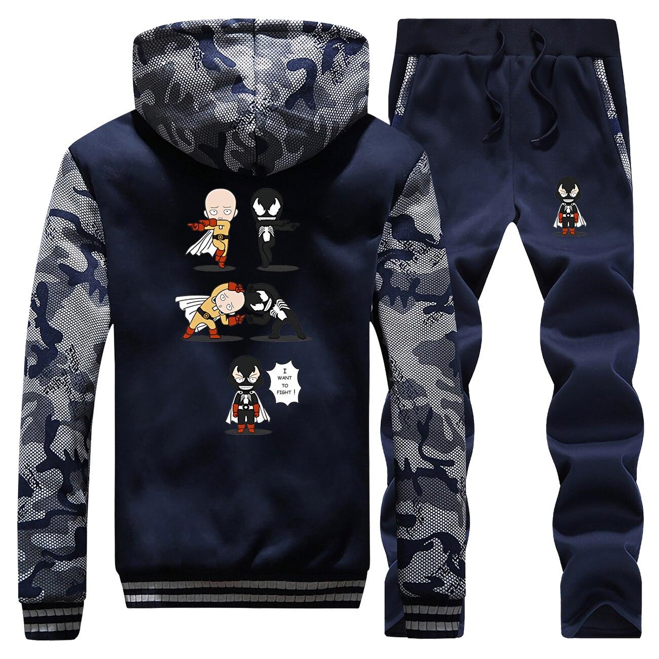 One Punch Man Venom Edward Brock Tracksuits Jacket Pant Set Men Funny Sportsuit Sweatshirts Sets Suit 2 PCS Camo Coat Sportswear
