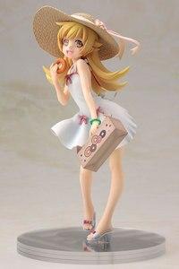 Image 2 - Аниме Oshino Shinobu Японская Игрушка, фигурки 17 см alter Sunshine Girl Kiss Shot, в соломенной шляпе и платье, сексуальная фигура для девочек