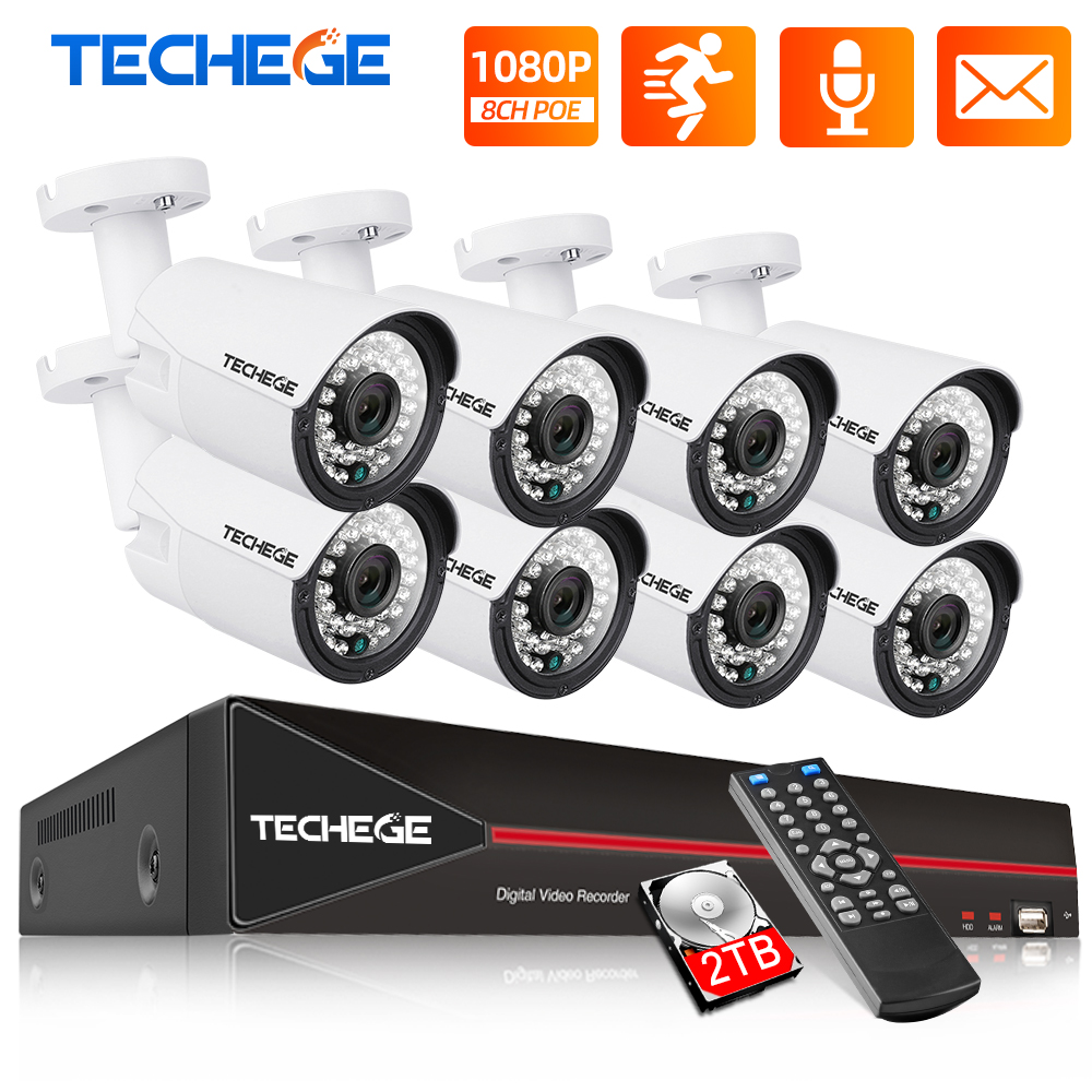 Techege H 265 8CH POE System 2 0MP Audio IP Camera Metal Outdoor Waterproof Network Camera CCTV Security System Surveillance Kit