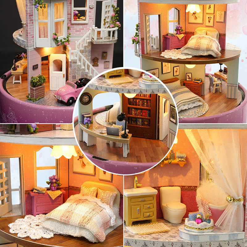 DIY Dollhouse Rotate Music Box Miniature Assemble Kits Doll House With Furnitures Wooden House Toys for Children Birthday Gift 4