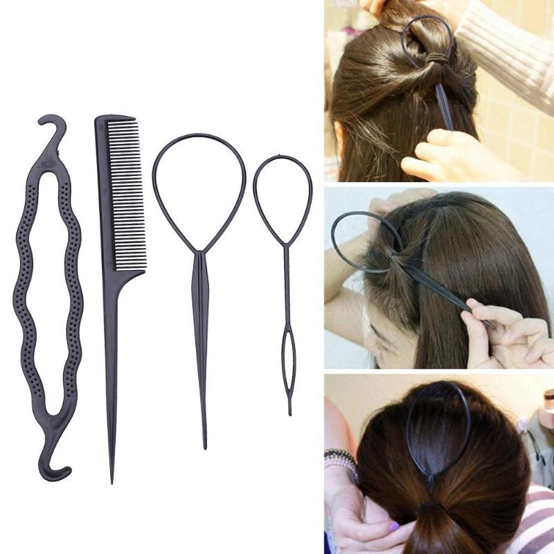 2/4pcs Hair Care Styling Tools Ponytail Braider Styling Tail Clip DIY Salon Hairdressing Tools For Girls Hair Bun Plastic Loop