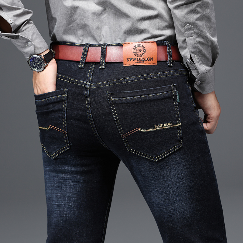 Ha9cc373e8f164ba896e0d1c86ab8153eD - 2020 New Design Jeans Mens Pants Cotton Deniem Classic Trousers Casual Stretch Slim High Quality Black Blue Multiple Styles