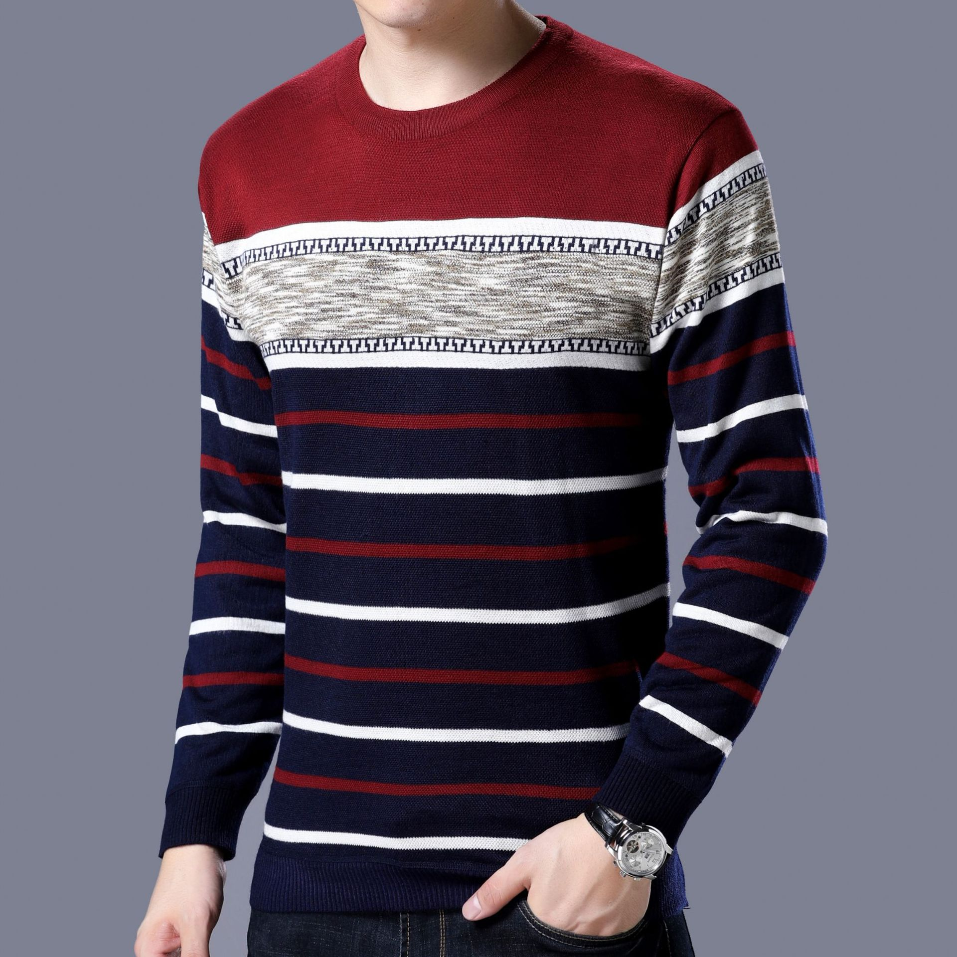 Spring Autumn Fashion Striped Knit Sweater Fleece Thick Men's Warm T-shirts Burgundy Long Sleeve Slim Pullover Casual Clothing